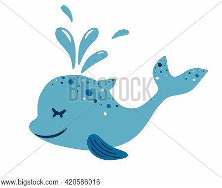 Cute Dolphin. Adorable Blue Dolphin With A Water Fountain. Side View Of Cute Friendly Fish. Childish