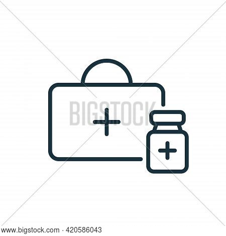 First Aid Or Medical Kit Icon. Medical Box Line Icon. First Aid Bag With Bottle Of Vaccine. Vaccine