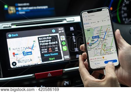 Bangkok, Thailand-27 October, 2020: Google Maps App With Apple Carplay On Car Screen Dashboard And I