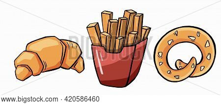 Bread Flat Icons Set For Bakery Shop Or Patisserie. Vector Illustration