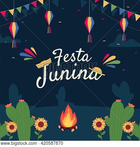 Festa Junina Illustration - Traditional Brazil June Festival Party. Vector Illustration