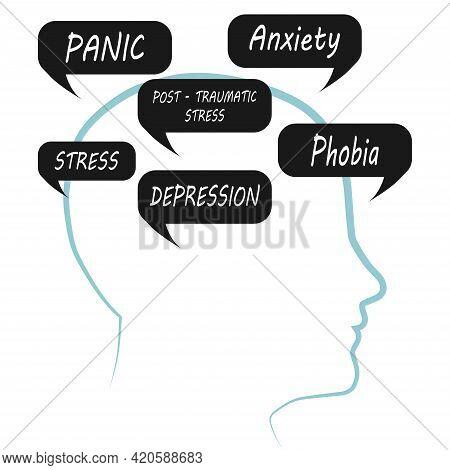 Symptoms Of Mental Illness. Vector Illustration For World Mental Health Day, For Poster, Map, Banner