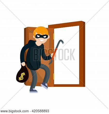 Thief With Crowbar. Masked Robber In Black Clothes Broke Down Door Of House. Problem Of Urban Securi