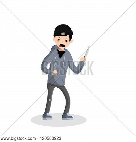Angry Young Man With A Knife. The Street Crime. A Criminal Guy Offender. A Robber Is A Thief In A Ho