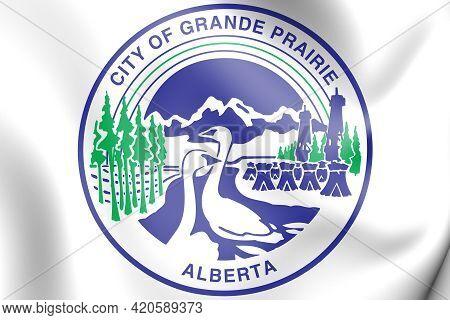 3d Seal Of Grande Prairie (alberta), Canada. 3d Illustration.
