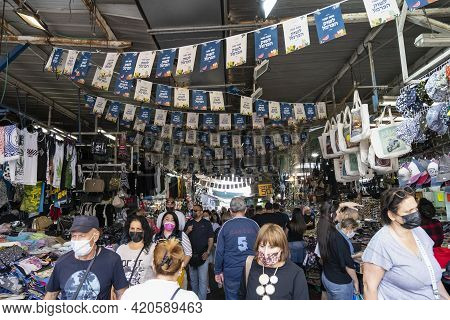 Tel Aviv, Israel - April 16th, 2021:the Crowded Carmel Market In Southern Tel Aviv, Most Vendors And