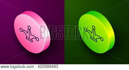 Isometric Line Joker Playing Card Icon Isolated On Purple And Green Background. Jester Hat With Bell