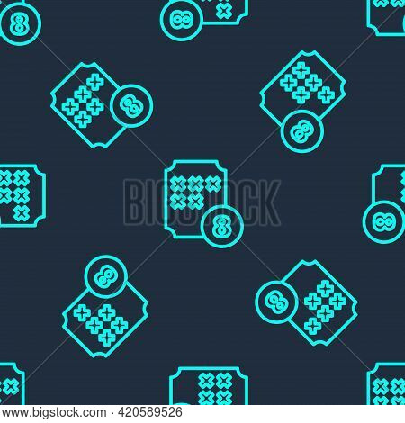 Green Line Bingo Or Lottery Ball On Bingo Card With Lucky Numbers Icon Isolated Seamless Pattern On