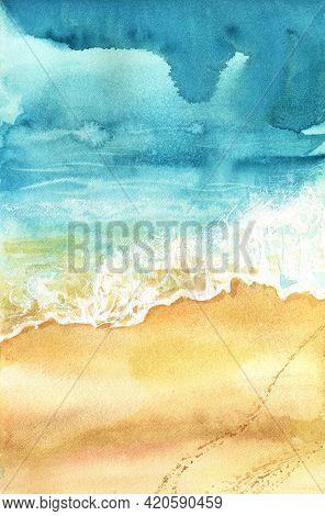 Aerial View Ocean Wave Sand. Watercolor Sea Background