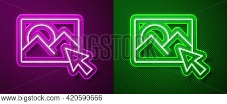 Glowing Neon Line Photo Retouching Icon Isolated On Purple And Green Background. Photographer, Photo