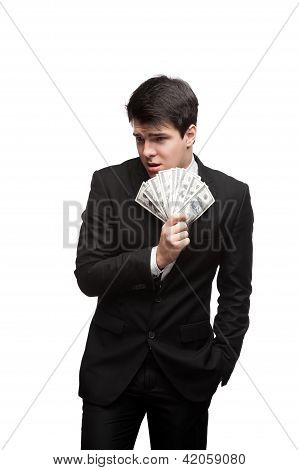funny businessman holding money