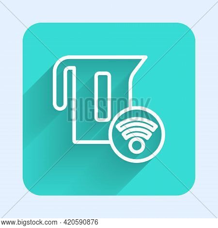 White Line Smart Electric Kettle System Icon Isolated With Long Shadow. Teapot Icon. Internet Of Thi