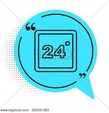 Black Line Thermostat Icon Isolated On White Background. Temperature Control. Blue Speech Bubble Sym