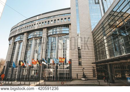 Eu Flags Outside European Parliament, Brussels, Belgium - 02 Mar 2011
