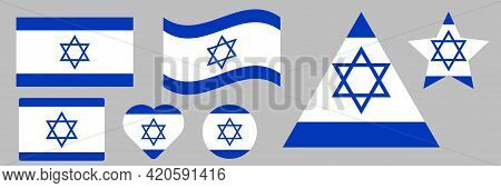 Vector Flag Of Israel. Color Symbol Isolated On White Background. Israel Flag.
