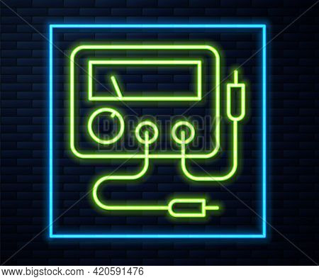 Glowing Neon Line Ampere Meter, Multimeter, Voltmeter Icon Isolated On Brick Wall Background. Instru