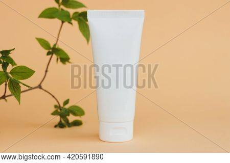 Cosmetic Skincare Product Blank Plastic Package. White Unbranded Lotion, Balsam, Hand Creme, Toothpa