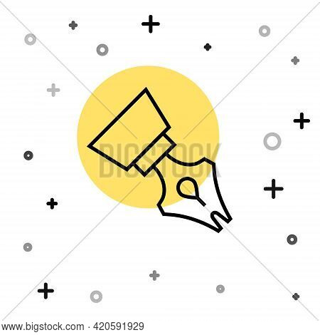 Black Line Fountain Pen Nib Icon Isolated On White Background. Pen Tool Sign. Random Dynamic Shapes.