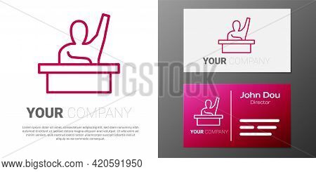 Logotype Line Active Male Kid Raising Hand Answering To Teacher Question Icon Isolated On White Back