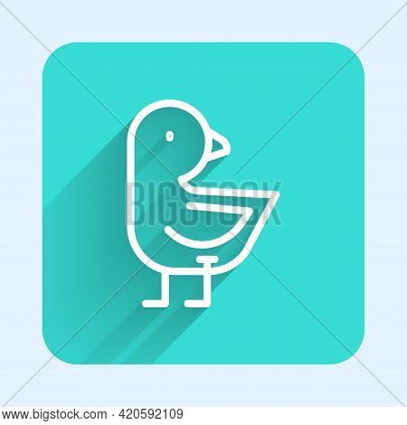White Line Little Chick Icon Isolated With Long Shadow. Green Square Button. Vector