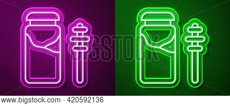 Glowing Neon Line Jar Of Honey And Honey Dipper Stick Icon Isolated On Purple And Green Background.
