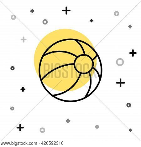 Black Line Beach Ball Icon Isolated On White Background. Children Toy. Random Dynamic Shapes. Vector