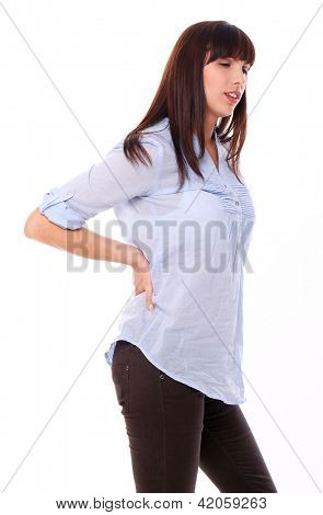 Beautiful caucasian woman feels pain in back isolated over white background