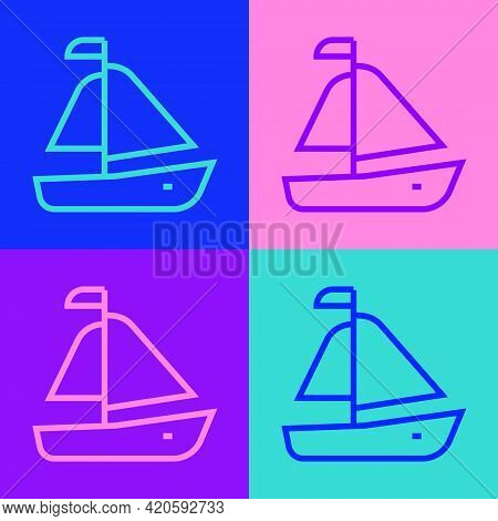 Pop Art Line Yacht Sailboat Or Sailing Ship Icon Isolated On Color Background. Sail Boat Marine Crui