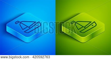 Isometric Line Yacht Sailboat Or Sailing Ship Icon Isolated On Blue And Green Background. Sail Boat