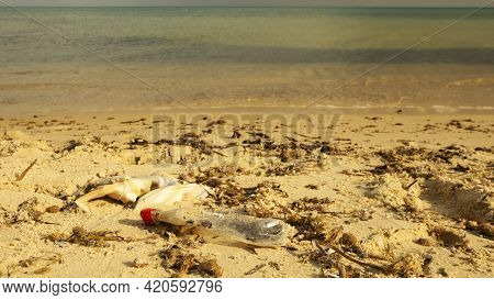 On A Sandy Beach For Recreation And Tourism Is A Used Plastic Bottle From A Drink, Polluting The Env