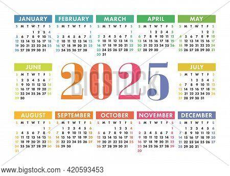 Calendar 2025. English Colorful Vector Horizontal Wall Or Pocket Calender Template. Design. New Year