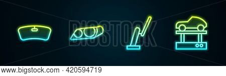 Set Line Windshield, Car Headlight, Windscreen Wiper And Repair Car On Lift. Glowing Neon Icon. Vect