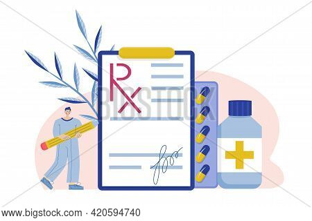 Rx Form. Form For Medicines With Pencil And Tablets On A White Background. Vector Illustration In Fl