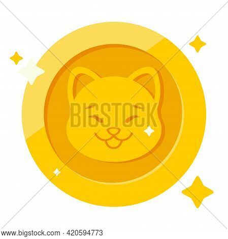 Dogecoin Doge Cryptocurrency Isolated On White Background, Face Of The Shiba Inu Dog On Coin, Symbol