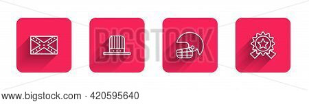 Set Line Flag Confederate, Patriotic American Top Hat, Football Helmet And Medal With Star With Long