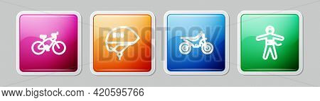 Set Line Bicycle, Helmet, Mountain Bike And Bungee Jumping. Colorful Square Button. Vector