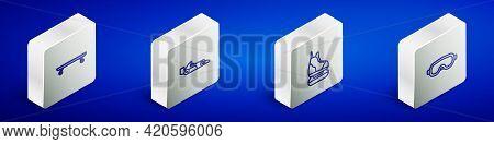 Set Isometric Line Longboard Or Skateboard, Formula 1 Racing Car, Skates And Ski Goggles Icon. Vecto