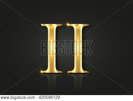 Gold Roman Number Two Collection Isolated On Black Background. Elegant Ancient Number Font 2 Old Gol