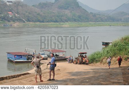 Local Boat Ship Ferry Transport Stop At Port Pier Send Receive Passengers Travelers People Crossing