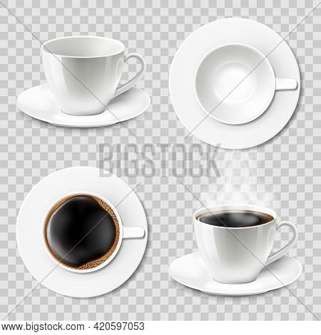 Set Of Coffee Cups Empty And With Coffee. Ceramic Cups Or Mugs With A Saucer, Top View, Side View. C