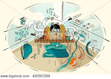 Multitasking Woman At Home At  Laptop, Multi-armed Mother During Quarantine Has Time For All Househo