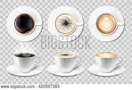 3d Realistic Vector Isolated White Ceramic Coffee Cups With Saucer, Top And Side View, Cappuccino, A