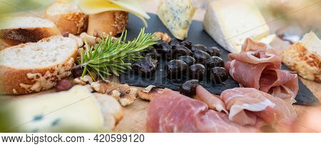 Plate With Tasty Mediterranean Starters. Food Photography With Short Deep Of Field. Close Up.