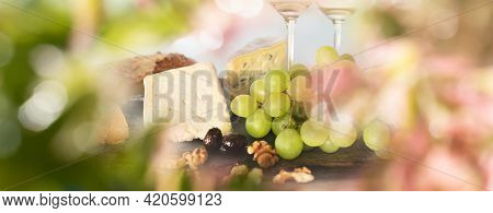 Plate With Tasty Starters In Summer. Atmospheric Food Photography With Short Deep Of Field And Space