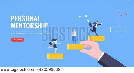 Business Mentor Helps To Improve Career And Holding Stairs Steps Vector Illustration. Mentorship, Up