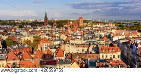 Sightseeing Of Poland. Cityscape Of Torun. Beautiful Aerial View Of Torun Old Town.