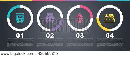 Set Line Delivery Cargo Truck, Car, Traffic Light And Cargo Ship With Boxes. Business Infographic Te