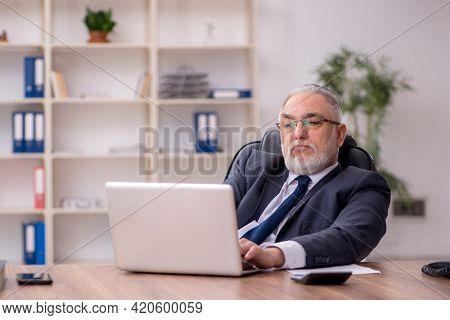 Experienced old businessman in the office