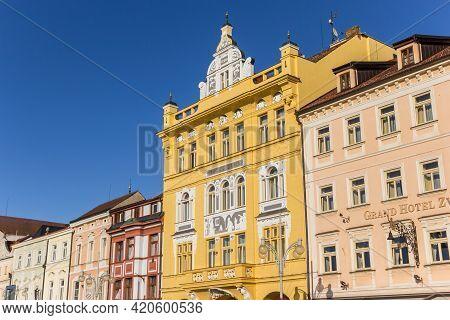 Ceske Budejovice, Czech Republic - September 18, 2020: Colorful Hotels On The Market Square In Ceske