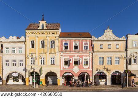 Ceske Budejovice, Czech Republic - September 18, 2020: Colorful Od Houses On The Market Square Of Ce